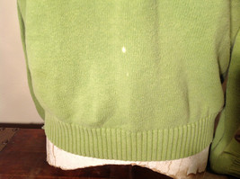 Green with Stripes Hollister Sweater Zip Neck Closure Light Blue Accents Size L image 4