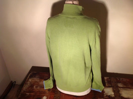 Green with Stripes Hollister Sweater Zip Neck Closure Light Blue Accents Size L image 7