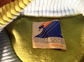 Green with Stripes Hollister Sweater Zip Neck Closure Light Blue Accents Size L image 8