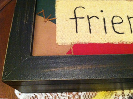"""""""Friends"""" Hand Stitched into Quilted Lid of Black Wooden Box image 2"""