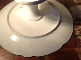 French Ceramic Service Platter Tray Gilded White Raised Flowers Leaves image 8