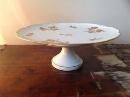 French Ceramic Service Platter Tray Gilded White Raised Flowers Leaves image 2