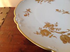 French Ceramic Service Platter Tray Gilded White Raised Flowers Leaves image 4