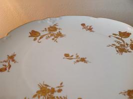 French Ceramic Service Platter Tray Gilded White Raised Flowers Leaves image 3