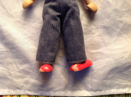 French Wooden Doll with Hat Red Striped Shirt Black Hair Red Shoes Jean Pants image 6