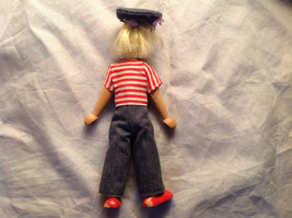French Wooden Doll with Hat Red Striped Shirt Black Hair Red Shoes Jean Pants image 5