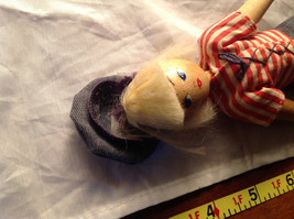 French Wooden Doll with Hat Red Striped Shirt Black Hair Red Shoes Jean Pants image 8