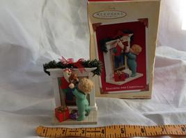 Hallmark Keepsake Reaching for Christmas Ornament Scene Near Fireplace Ornament image 9