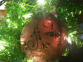 Frosted Hand blown large heirloom glass Christmas ornament in Vintage Red image 2