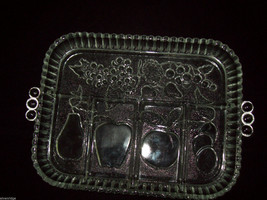 Fruit Motif pear apple plum grapes strawberries 2 serving bowls vintage glass image 6