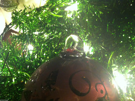 Frosted Hand blown large heirloom glass Christmas ornament in Vintage Red image 5