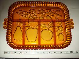 Fruit Motif pear apple plum grapes strawberries 2 serving bowls vintage glass image 10