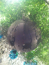 Frosted Hand blown large heirloom glass Christmas ornament in Matted Coal image 2