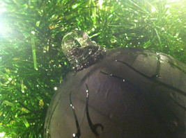 Frosted Hand blown large heirloom glass Christmas ornament in Matted Coal image 4