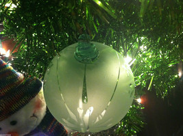 Frosted Hand blown large heirloom glass Christmas ornament in White Satin image 3