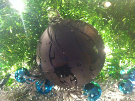 Frosted Hand blown large heirloom glass Christmas ornament in Matted Coal image 3