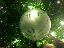 Frosted Hand blown large heirloom glass Christmas ornament in White Satin image 5