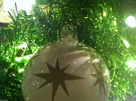 Frosted Hand blown large heirloom glass Christmas ornament in White Pearl image 3
