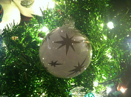 Frosted Hand blown large heirloom glass Christmas ornament in White Pearl image 2