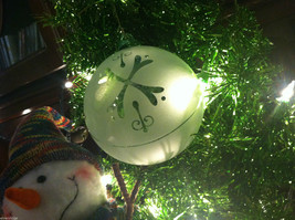 Frosted Hand blown large heirloom glass Christmas ornament in White Satin image 4