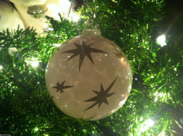 Frosted Hand blown large heirloom glass Christmas ornament in White Pearl image 5