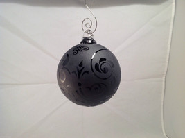 Frosted Heirloom glass Hand Blown Ball Holiday ornament, Frosted Clear black image 3