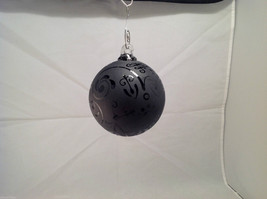 Frosted Heirloom glass Hand Blown Ball Holiday ornament, Frosted Clear black image 2