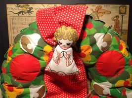 Fruity Holiday Quilted Wreath with Doll and Ribbon Apples Bells Flowers image 2