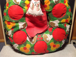 Fruity Holiday Quilted Wreath with Doll and Ribbon Apples Bells Flowers image 3