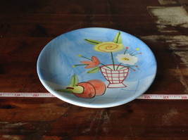 Hand Painted Decorative Ceramic Plate Saucer Flowers and Fruit image 3