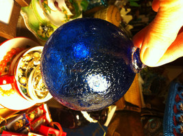 Hand blown large heirloom glass Christmas ornament in cobalt blue crackle finish image 2