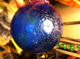 Hand blown large heirloom glass Christmas ornament in cobalt blue crackle finish image 3