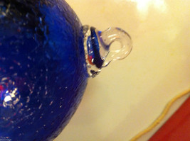 Hand blown large heirloom glass Christmas ornament in cobalt blue crackle finish image 6
