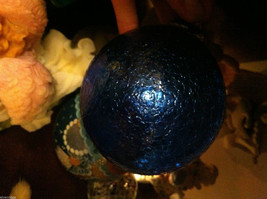 Hand blown large heirloom glass Christmas ornament in cobalt blue crackle finish image 7