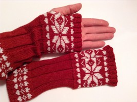 Fun Snowflake snow knit fingerless mittens 6 color choices holiday gift image 7