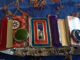 Funky colorful modern enamel resin silver tone tablet bracelet  NEW  oranges image 6