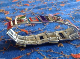 Funky colorful modern enamel resin silver tone tablet bracelet  NEW  oranges image 4