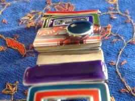 Funky colorful modern enamel resin silver tone tablet bracelet  NEW  oranges image 7