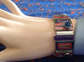 Funky colorful modern enamel resin silver tone tablet bracelet  NEW  oranges image 8