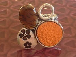 Funky Silver tone bubble art floral flexible ring orange leather metal 1 sz image 2