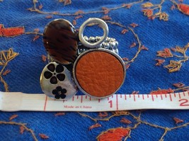 Funky Silver tone bubble art floral flexible ring orange leather metal 1 sz image 9