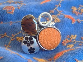 Funky Silver tone bubble art floral flexible ring orange leather metal 1 sz image 3