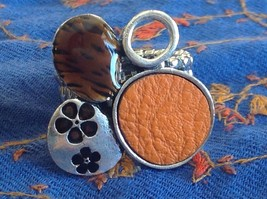 Funky Silver tone bubble art floral flexible ring orange leather metal 1 sz image 6