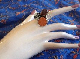 Funky Silver tone bubble art floral flexible ring orange leather metal 1 sz image 8