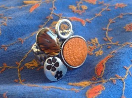 Funky Silver tone bubble art floral flexible ring orange leather metal 1 sz image 4