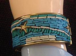 Funky Boho Handcrafted Blue Teal White  Starfish Costume Seashore India Bracelet image 3