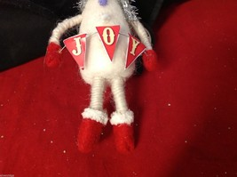 Fuzzy soft ornament jolly snowman department 56 with JOY pennants vintage repro image 3