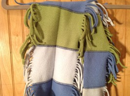 GAP Kids Scarf Blue White Green Stripes Edges Frilled 100 Percent Polyester image 2