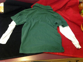 GAP Kids Layered Long Sleeve Polo Green w Argyle and White Sleeves size Large L image 3