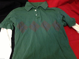 GAP Kids Layered Long Sleeve Polo Green w Argyle and White Sleeves size Large L image 6